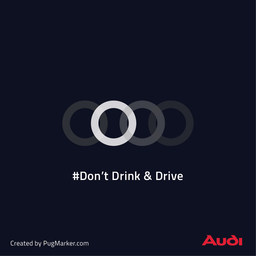 Brand logos reimagined for social cause : Audi for Don't drink and drive