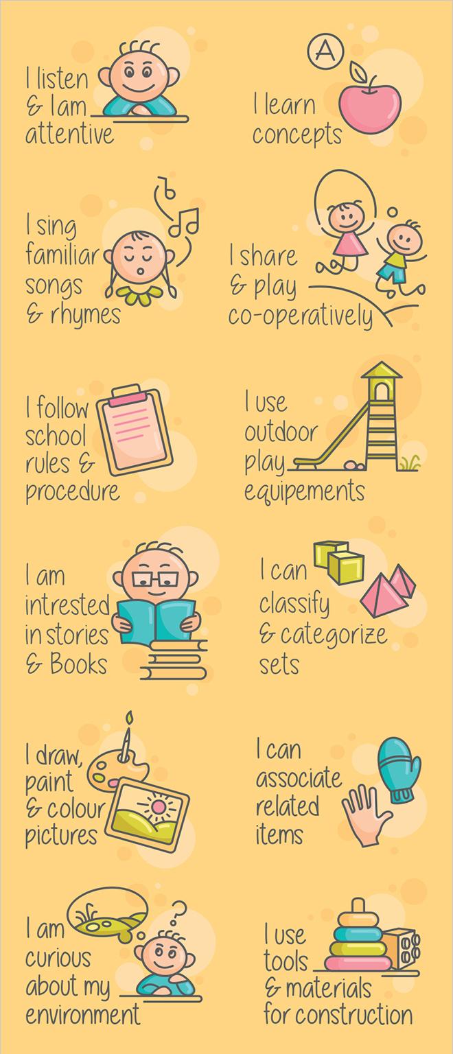 Carnation Preschool Progress Card Illustrations