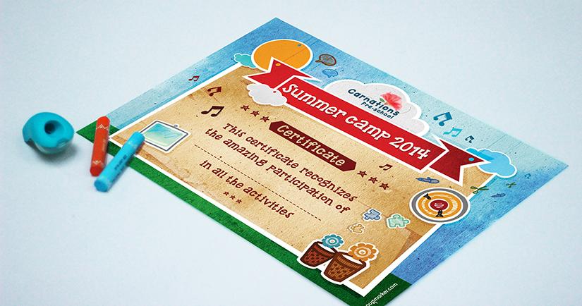 Carnations Preschools Certificate