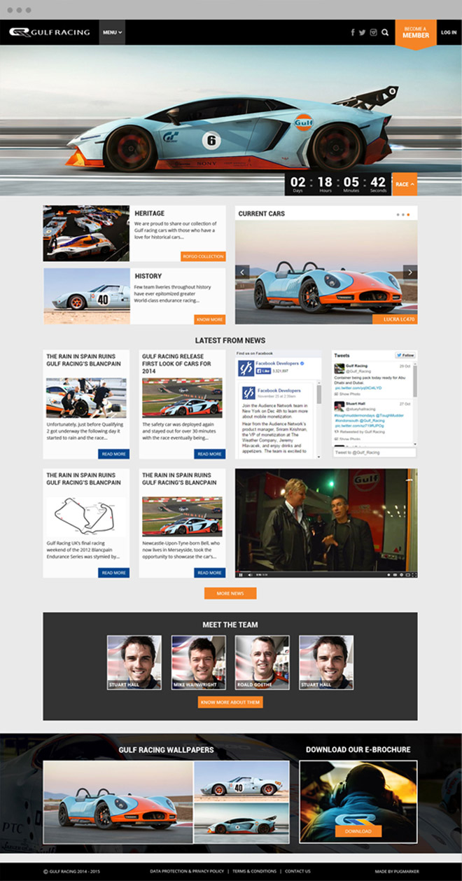 Gulf Racing home page design