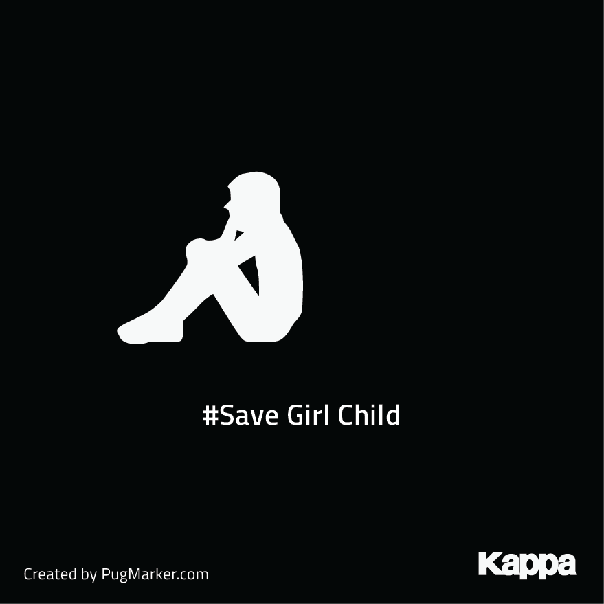 KappaBrand logos reimagined for social cause : Kappa for 'Save girl child'