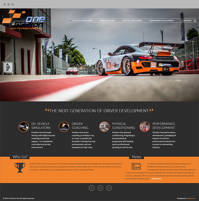 Position One MotorSports Home Page Design