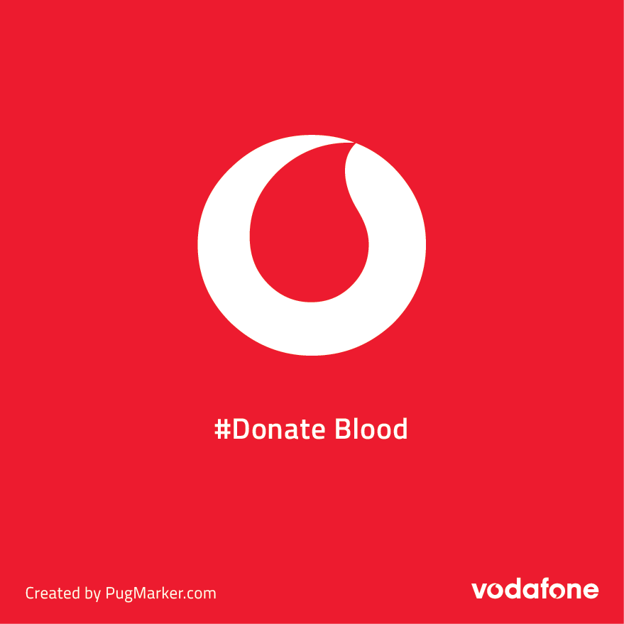Brand logos reimagined for social cause : Vodafon donate blood