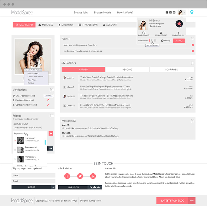 Modelspree Dashboard Model