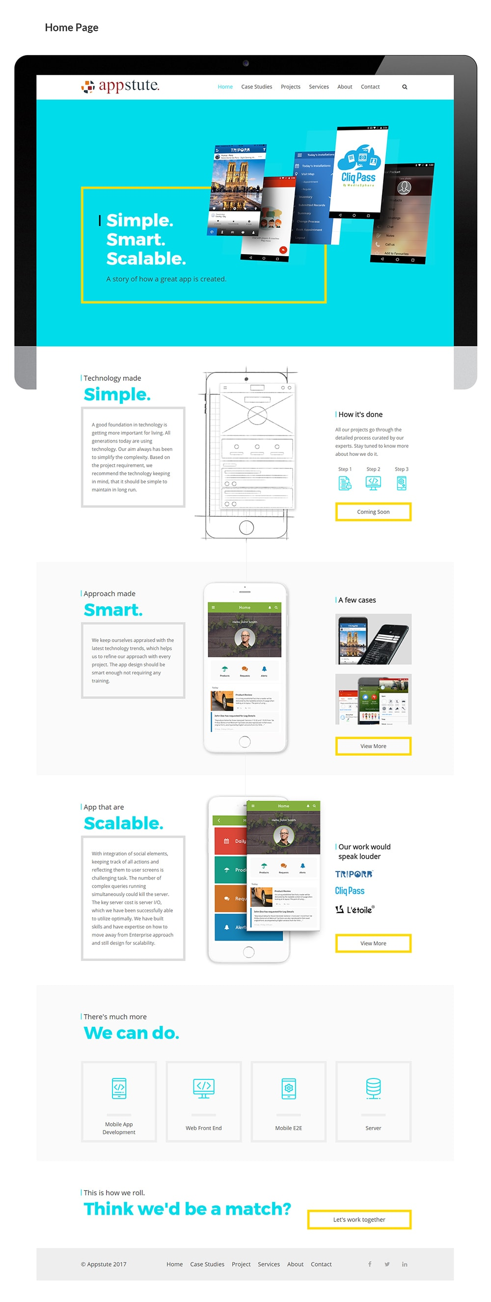 Appstute website home page design
