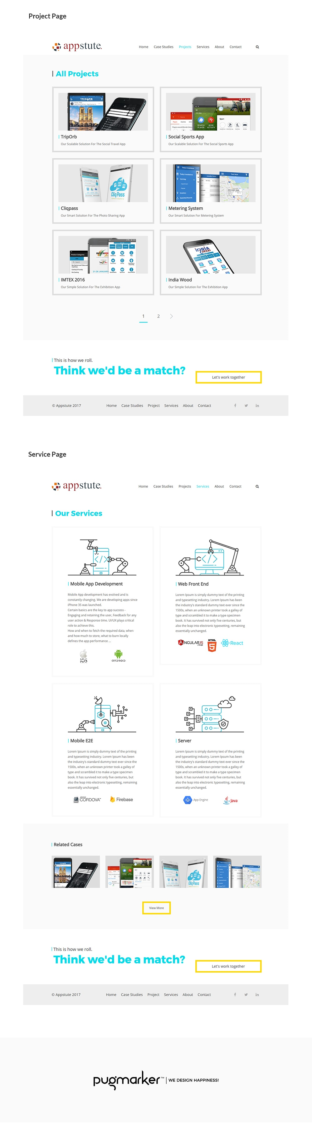 Appstute website product and service page design