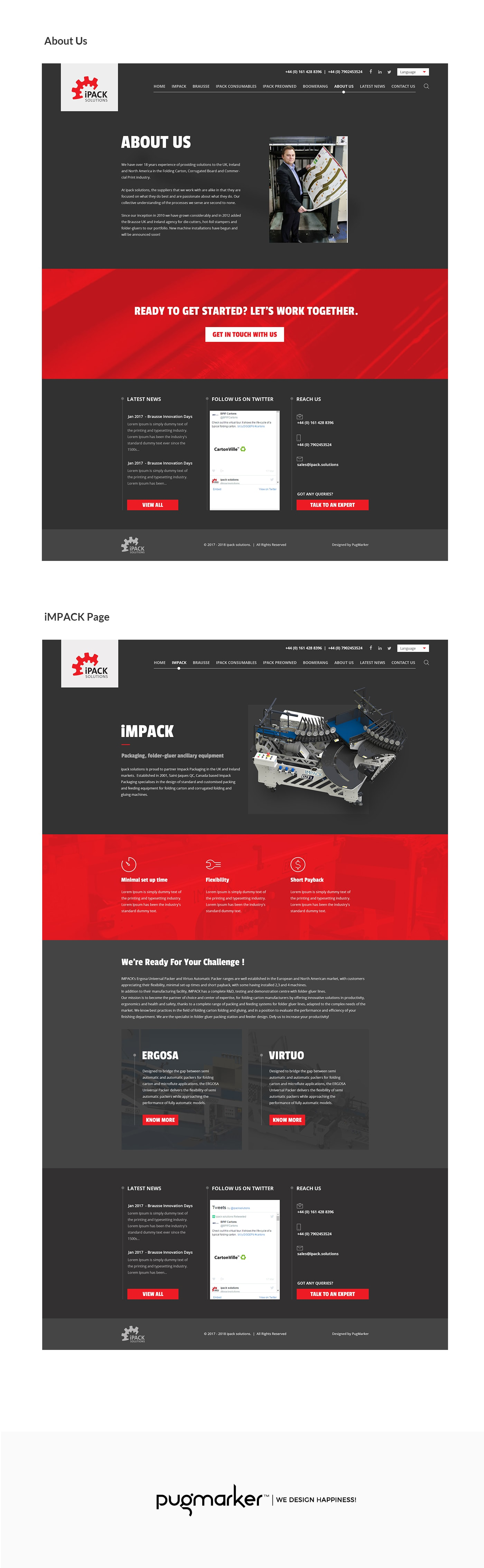 ipack solutions website about us page design