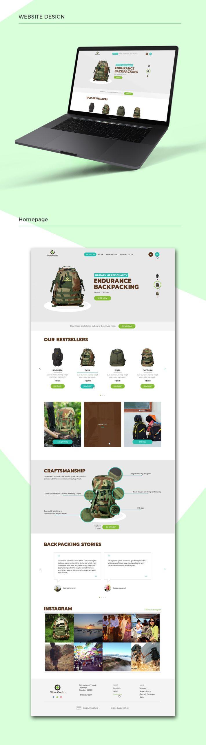 Olive Gecko Ecommerce website homepage presentation