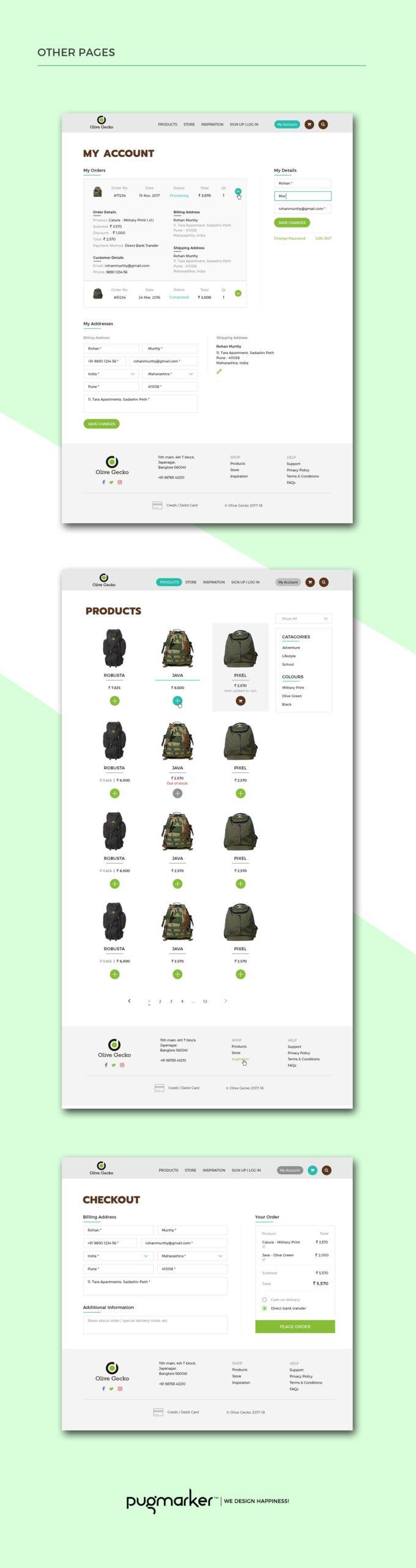 Olive Gecko Ecommerce Website pages design