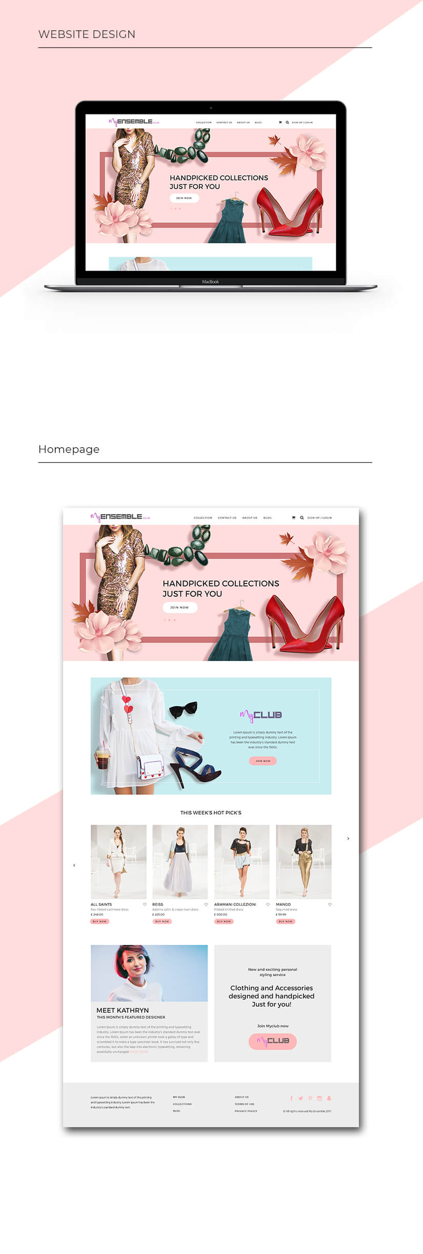 My Ensemble E-Commerce website homepage design