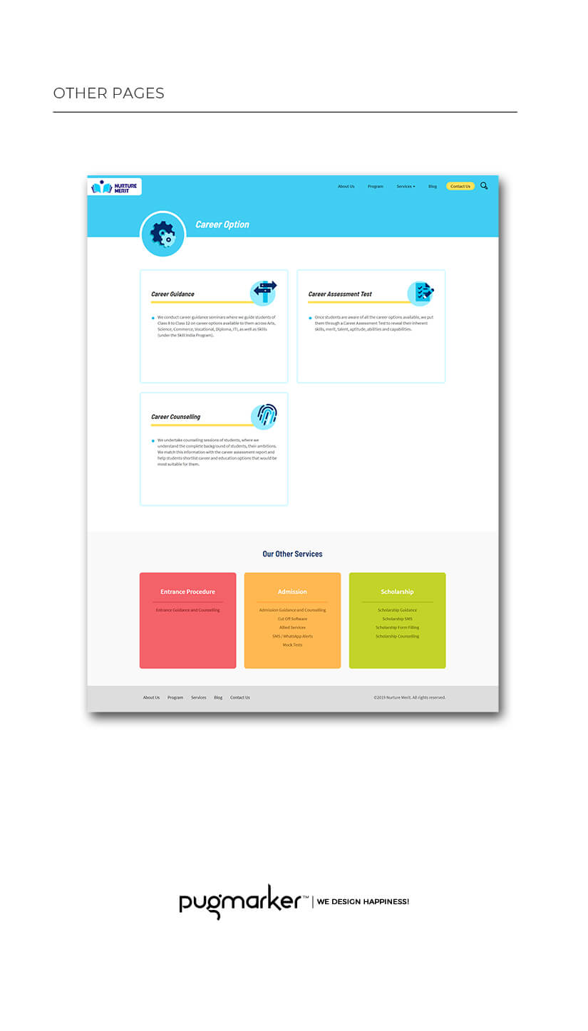 nurture merit website pages design