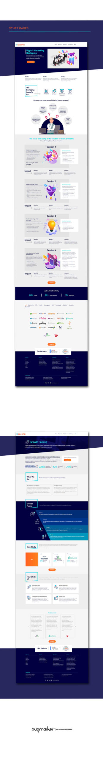 UpGrowth website pages design