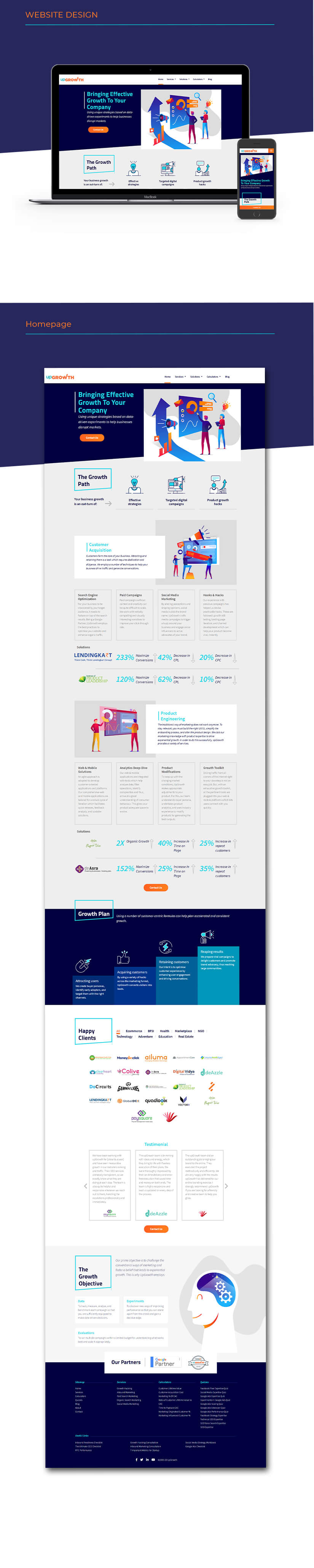UpGrowth website homepage design
